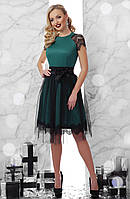Шикарное нарядно платье Тиана К/р с кружевом и фатиновой юбкой скл.2