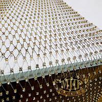 Нашивная стразовая сетка золотистая, отрезок 0,5м