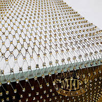 Золотая стразовая  сетка, 1м