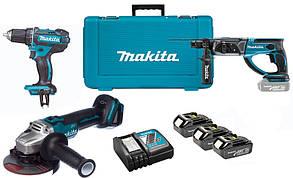Набор аккумуляторного инструмента Makita DLXMUA504A + 3 акб 18 V 3 Ah + з/у DC18RC + кейс