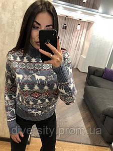 """Классический женский вязаный свитер под горло """"Орнамент-олень""""  6 цветов"""