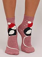 Темно-розовые женские носки с пингвином SK-X20163 , фото 1