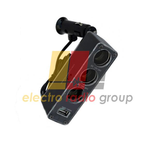 Разветвитель автоприкуриват. шт.прикур.- 3гн.прикур.+гн.USB c кабелем