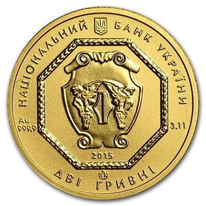 Монета Архистратиг Михаил 2 гривны  золото 999,9 вес 3,11 грамм.