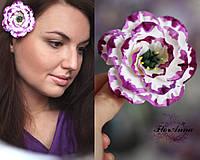 """Фиолетовая заколка цветок из полимерной глины """"Эустома с росписью"""", фото 1"""