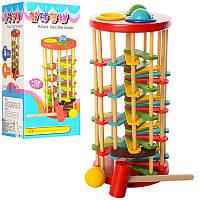 Деревянная развивающая игрушка Стучалка QZM-0205, молоточек, шарики, в коробке