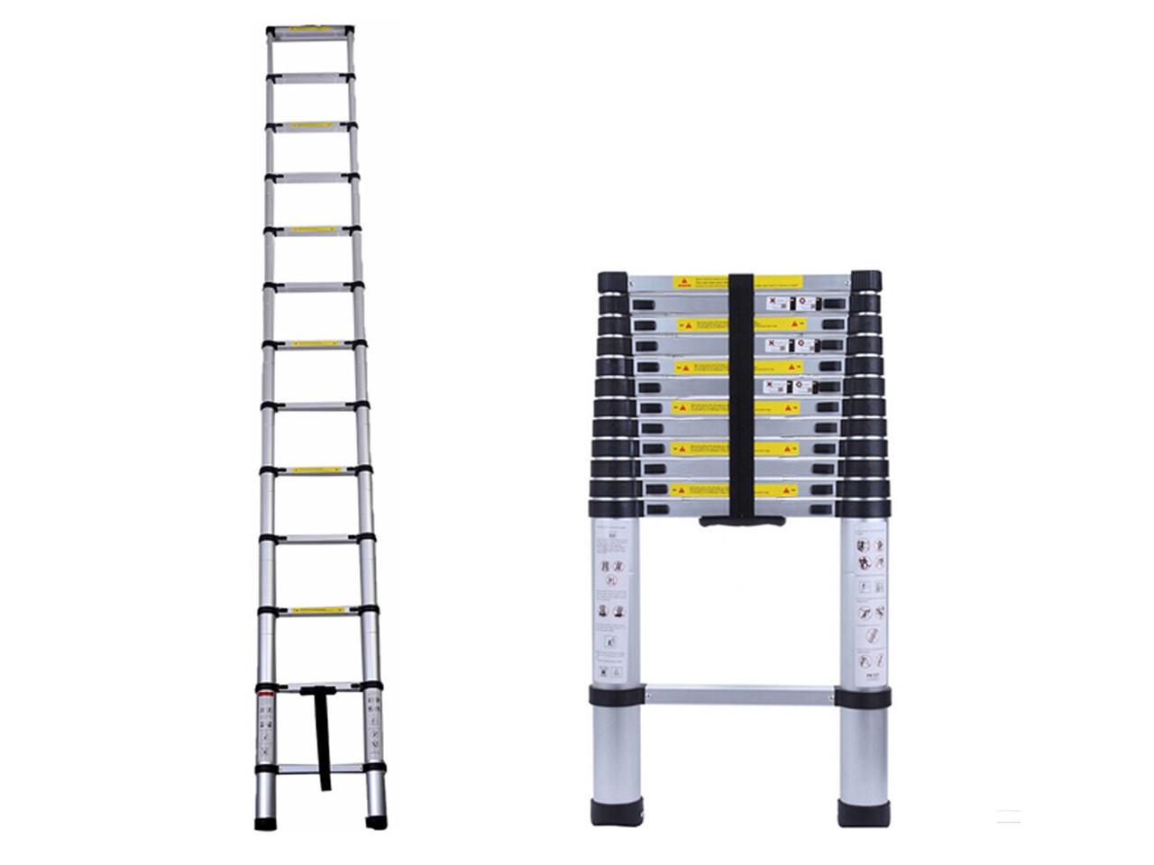 Лестница телескопическая алюминий 3.8 м