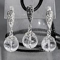 Горный хрусталь, Ø12 мм., серебро, комплект кулон и серьги, 071КМГ