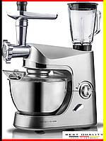 Профессиональный кухонный комбайн 3в1 тестомес, мясорубка, блендер 1800Вт, фото 1
