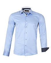 Рубашка мужская  Slim голубая L