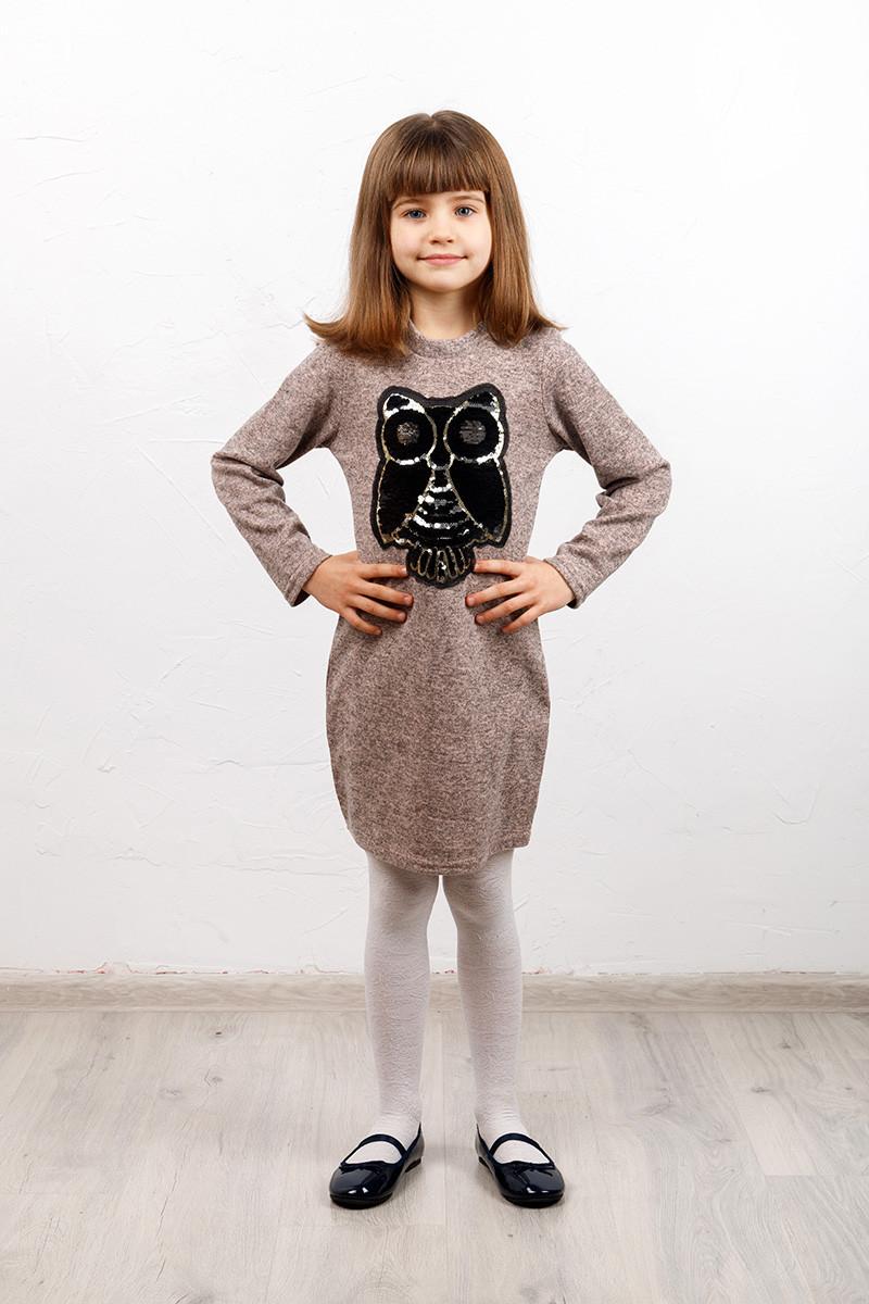 Платье детское Софи сова №4 пудра