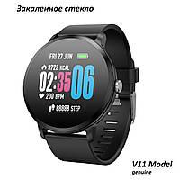 Фитнес браслет V11 умные часы с тонометром давления крови пульсометр закаленное стекло черный iPhone Android