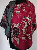 Роскошный женский двусторонний палантин с цветочным рисунком