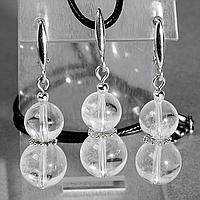 Горный хрусталь, Ø10 и Ø12 мм., серебро, комплект кулон и серьги, 072КМГ