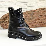 Черевики демісезонні на товстій підошві, на шнурках, з натуральної чорної шкіри, фото 3