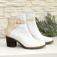 Ботинки зимние женские на устойчивом каблуке, натуральная кожа белого и бежевого цвета, фото 1