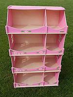 Кукольный домик-шкаф с росписью (розовый)