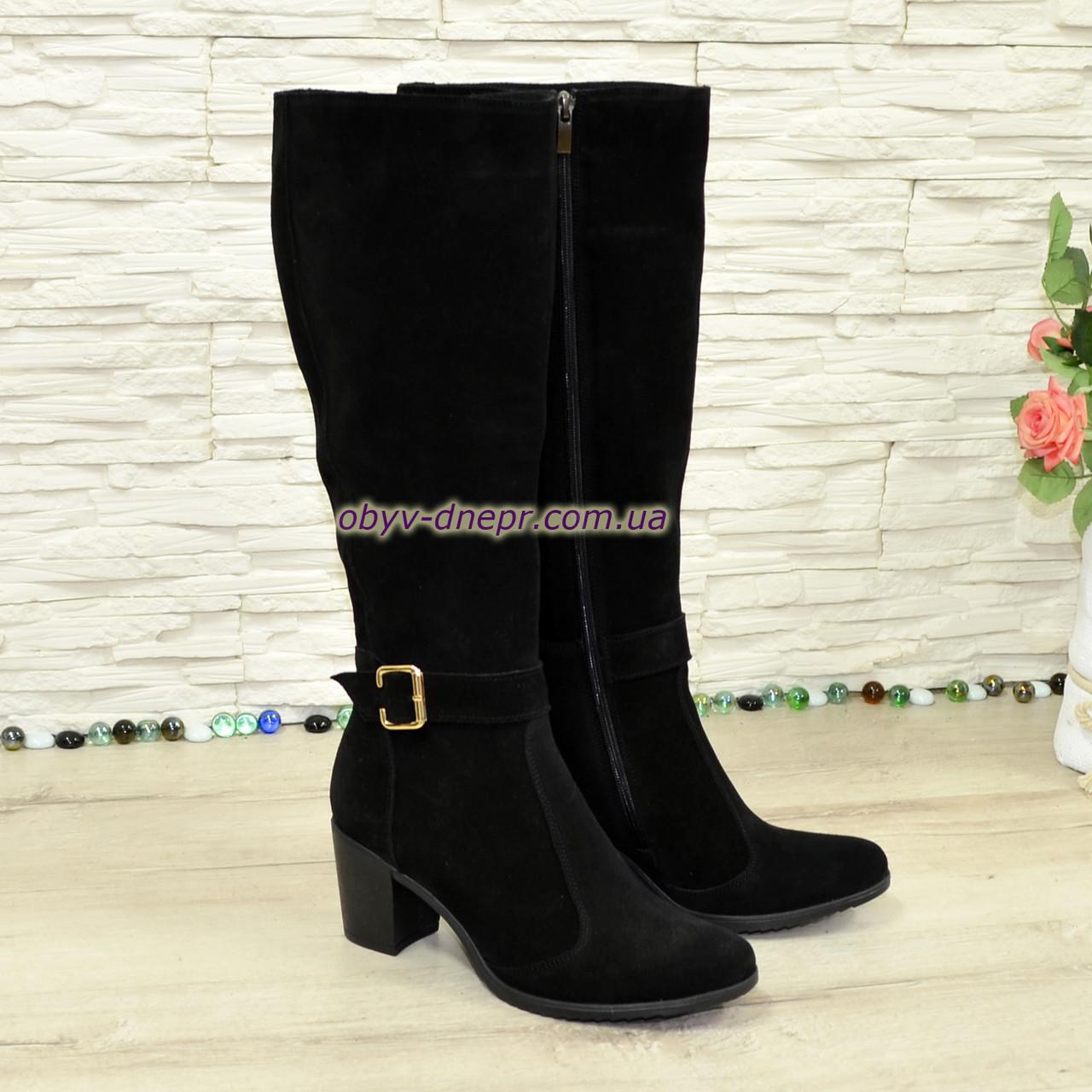 Сапоги зимние замшевые женские на невысоком устойчивом каблуке, цвет черный