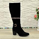 Сапоги зимние замшевые женские на невысоком устойчивом каблуке, цвет черный, фото 4