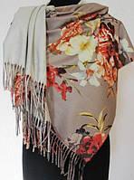 Тёплый женский палантин из кашемира с цветочным рисунком