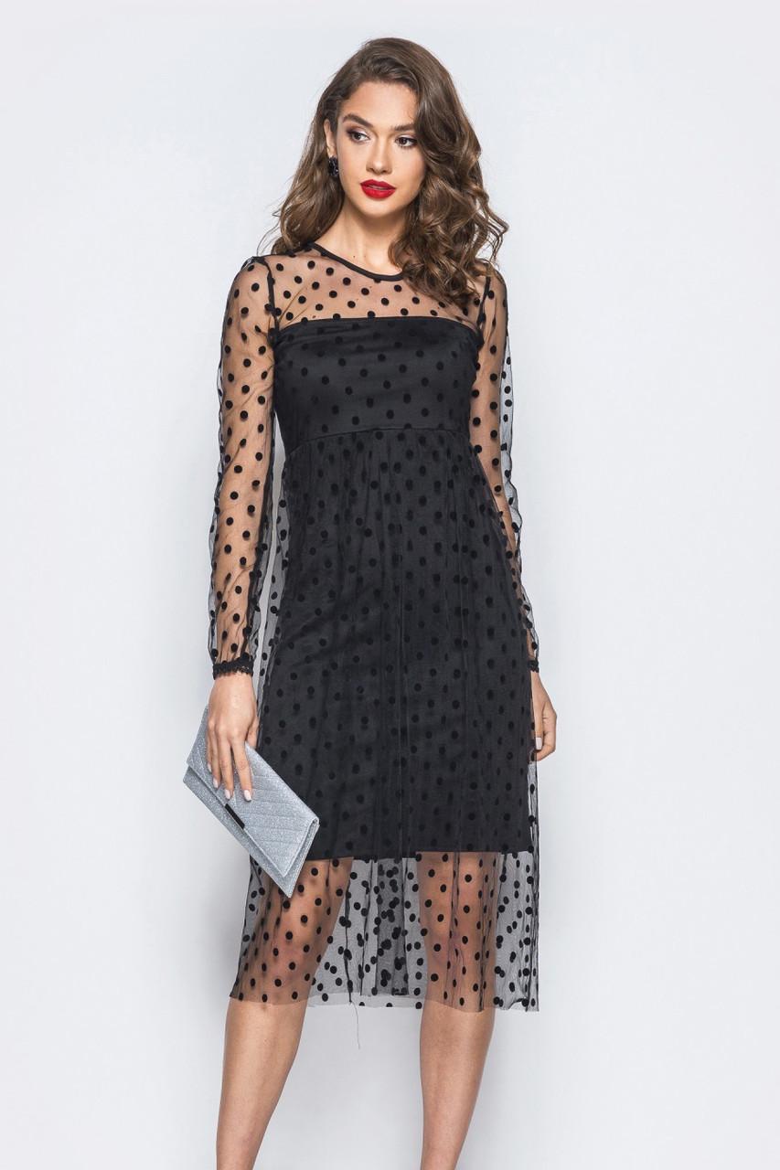 S   Витончене чорне плаття в сіточку Anris