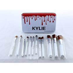 Кисті для макіяжу Kylie 12 шт набір кистей пензлика 12 шт Білі