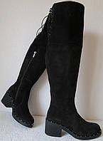 Зимові жіночі чорні замшеві ботфорти єврозима в стилі Baldinini зручні  комфортні низький каблук високі чоботи 2256502467ef3