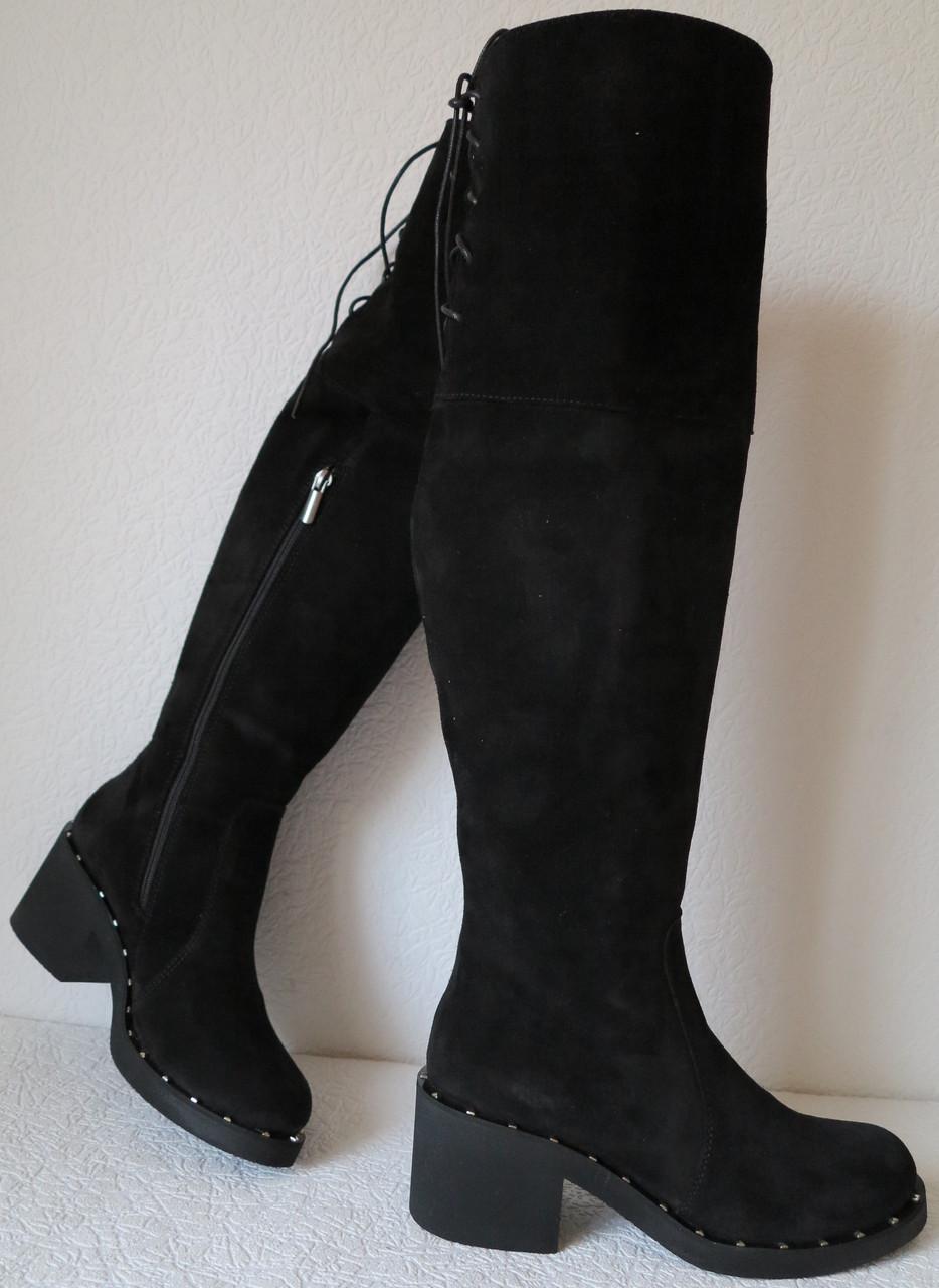 Зимові жіночі чорні замшеві ботфорти єврозима в стилі Baldinini зручні  комфортні низький каблук високі чоботи ec27fc1568cd9