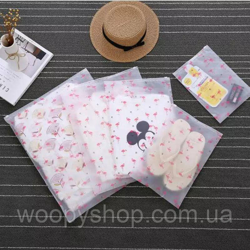 """Пакет для вещей с замком бегунком """"Розовый фламинго"""". Пакет слайдер  М 24*35см"""