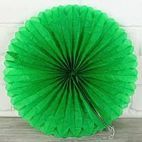 Веер гармошка из папирусной бумаги зеленый  для декора  диаметр 40 см