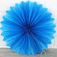 Веер гармошка из папирусной бумаги синий для декора   диаметр 40 см