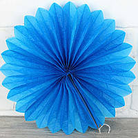 Віяло гармошка з папірусного паперу синій для декору діаметр 40 см