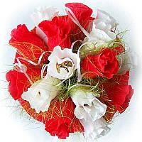 Букет из конфет Красно-белые розы