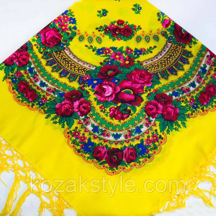 Українська хустка жовта (120х120)
