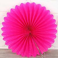 Віяло гармошка з папірусного паперу малиновий для декору діаметр 40 см