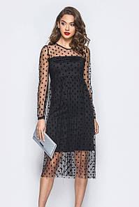 S, M, L / Изящное платье в сеточку Anris, черный