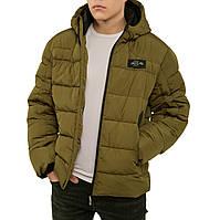 Мужская зимняя куртка, теплый пуховик, модная короткая с капюшоном, био пух 52
