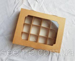 Коробка із крафт картону з віконцем для 12 цукерок, 200х155х30 мм.
