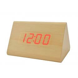 Часы VST 864 светлое дерево красная подсветка