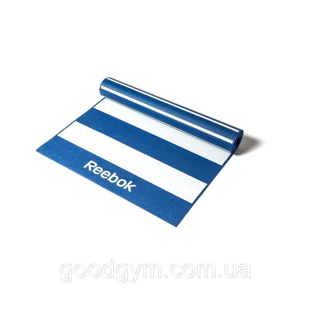 Мат для йоги двухсторонний Reebok Stripes RAYG-11030BL 4мм