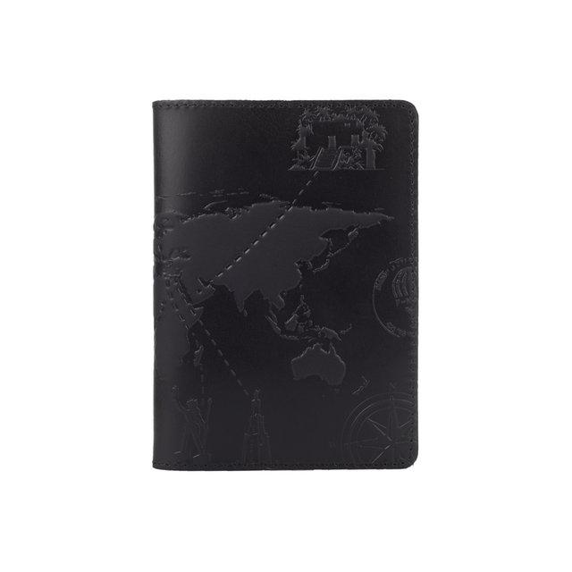 """Обложка для паспорта кожаная с художественным тиснением Shabby """"7 чудес света"""". Цвет черный"""