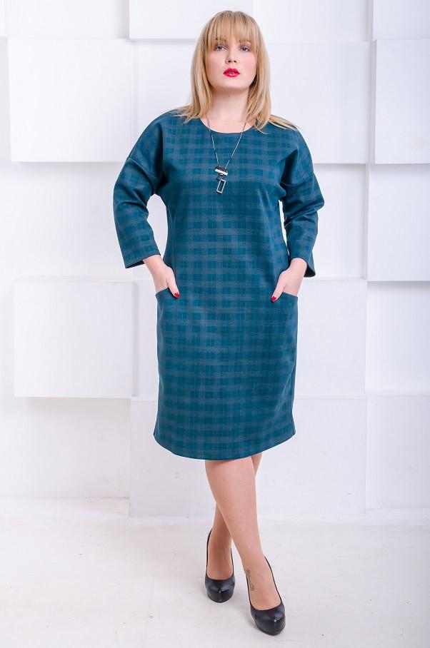 Стильное платье размер плюс Джанин малахит  (62)