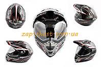 Шлем кроссовый   (mod:MX433) (с визором, size:XL, черно-красный, MAGNUM)   LS-2