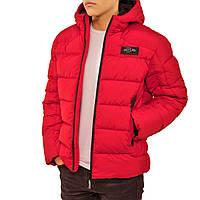 Мужская зимняя куртка, теплый пуховик, био пух, модня короткая с капюшоном 48