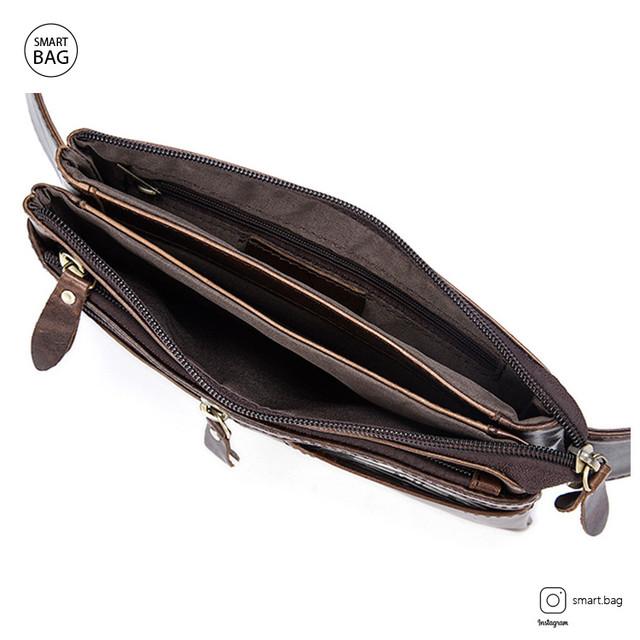 Кожаная поясная сумка Marrant | темно-коричневая