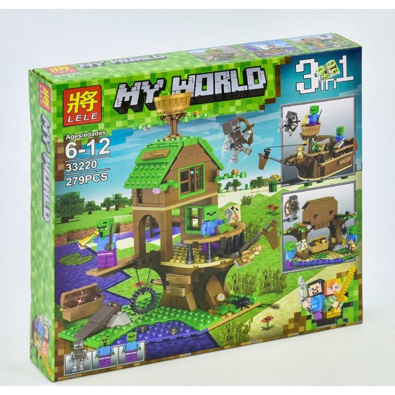 """Конструктор Minecraft """"В поисках сокровищ"""" Lele 33220 3 в 1 279 деталей"""