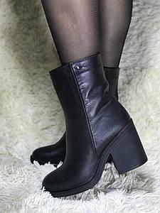 Ботинки женские зимние из натуральной кожи на каблуке с натуральным мехом