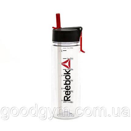 Бутылка для воды Reebok RABT-P65CLWORD Clear 0,65л, фото 2