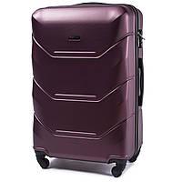 Средний пластиковый чемодан Wings 147 на 4 колесах бордовый