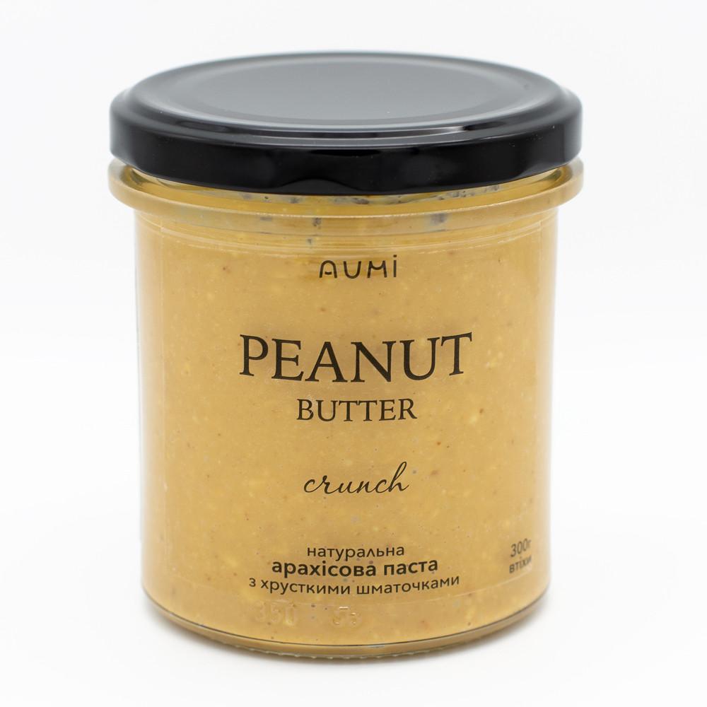 Кранч арахисовая паста, 300г, уникальная рецептура, хрустящие кусочки, 100% арахис, без добавок